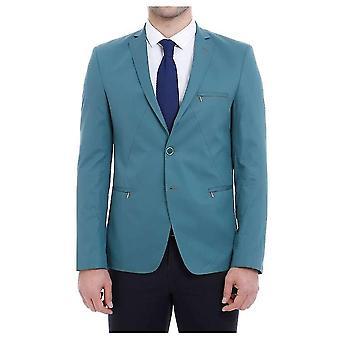 Pockets zippered green blazer mocels.