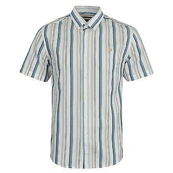 Farah Robertson Stripe Organic Cotton Short Sleeve Shirt - Ecru