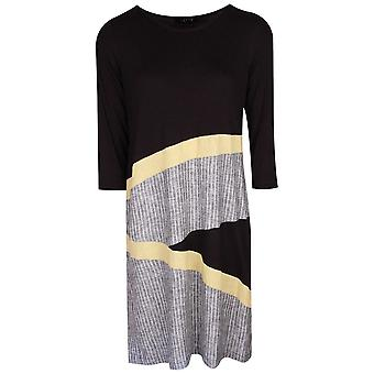 Latte Black Long Sleeve Dress With Yellow Detail