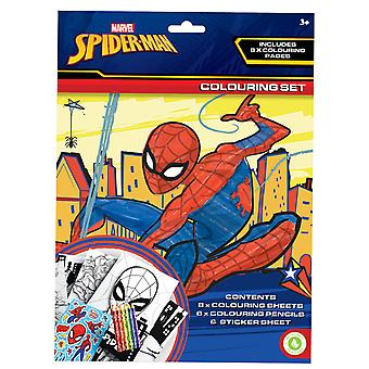 Ultimate Spiderman Colouring Set Childrens Activity Stickers Party Favour Gift