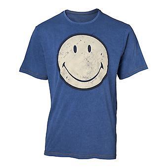Smiley - Original Smiley Logo Faux Denim Men's X-Large T-Shirt - Blue