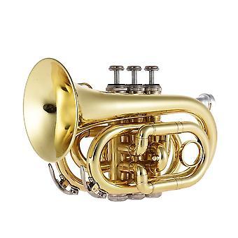 Trąbka kieszonkowa, Tone Flat B Bb Brass, Instrument Dęty z ustnikiem, Rękawice,