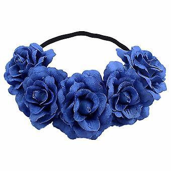 Rose Flower Crown Wedding Festival Headband Hair Garland Wedding Headpiece(Blue)