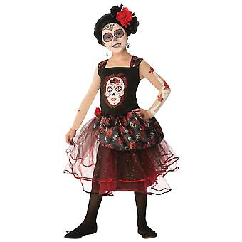 Rosa Senorita Day Of The Dead Mexican Spanish Skull Child Girls Costume