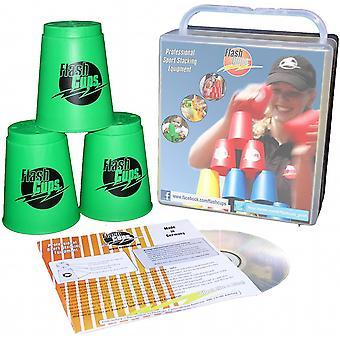 1005 - Speed Stacking: FlashCups (12 Stk., grün) mit Lunchbox+DVD