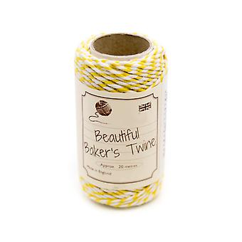 20m Daffodil Yellow Natural Bakers Twine for Crafts & Gift Wrapping