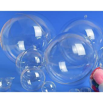 15 Two-Part 50mm Fillable Transparent Plastic Christmas Bauble Ornaments