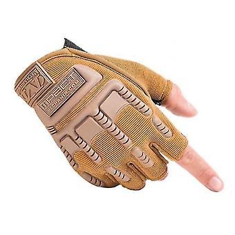 Outdoor Fitness Gloves Male Half-finger Equipment Training Sports Climbing Gloves(Khaki)