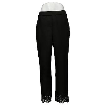 Dennis Basso Pantalones de mujer Pull-On Ankle Pants w/ Lace Black A376626