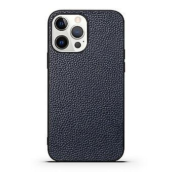 Para iPhone 13 Pro Max Case Cuero genuino Durable Slim Cubierta protectora azul
