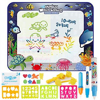 Kids Toys Water Doodle Mat Letter Recognition Writing Board 100*80