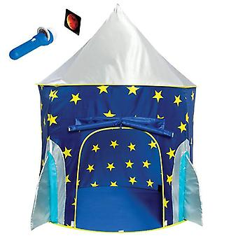 Rocket Ship Play Tent for Boys Rocket Ship Tent, Astronaut Space Tent for Kids w/ Projector Toy