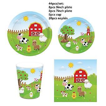 1Set tuotantoeläin teema folio puhallettavat ilmapallot hyvää syntymäpäivä juhla koristelua lapset syntymäpäivä lautasliina banneri kääre