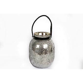 23X31CM SILVER GLASS CANDLE LANTERN WITH LEATHER HANDLE HOME DECORATION