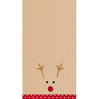 Red Nosed Reindeer Face Holiday Kitchen Dish Towel Waffle Weave 27 Inch