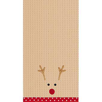 Красный нос оленей лицо праздник кухня блюдо Полотенца вафельные ткать 27 дюймов
