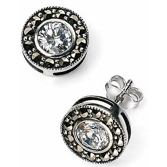 925 Silver Zirconia And Marcasite Earring
