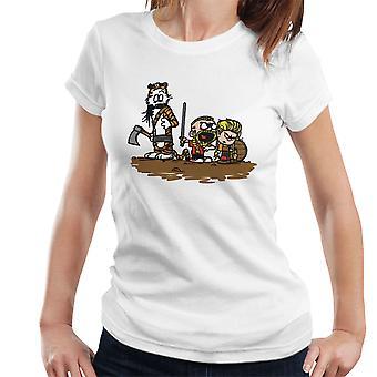 Calvin And Hobbes Vikings Ragnar Lothbrok Women's T-Shirt