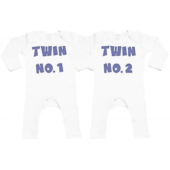 Spoilt Rotten Twin No.1 Twin No.2 Baby Footless Romper Twins Set