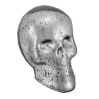 Silver Mercury Glass Skull Statue