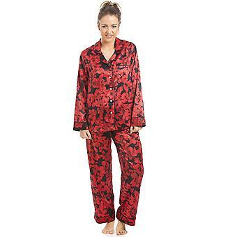 Камиль черный и красный цветочные атласная пижама набор