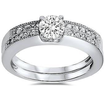 5 / 8ct bane Milgrain diamant Brude Engagement vielsesring sæt 14K hvidguld