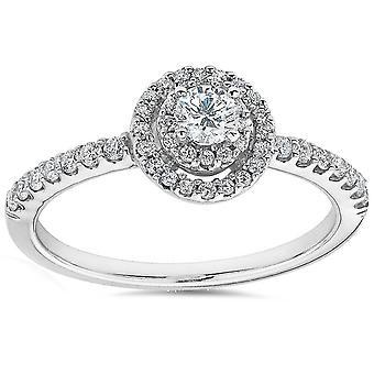 Pokój Dwuosobowy Halo 3 / 4ct okrągły diament pierścionek zaręczynowy 10K białe złoto