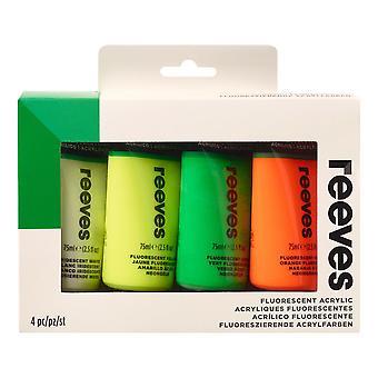 Reeves Acrylic Paint Set 4 x 75ml Fluorescent Colours