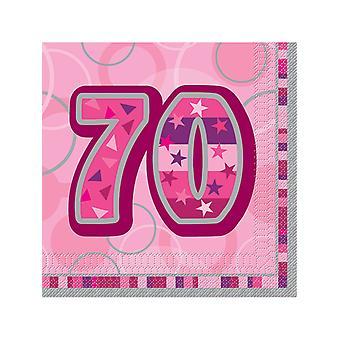 Födelsedag Glitz rosa - 70: e födelsedag - lunch servetter