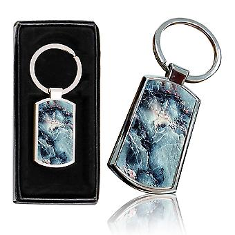 i-Tronixs - Premium Marble Design Chrome Metal Keyring with Free Gift Box (2-Pack) - 0015
