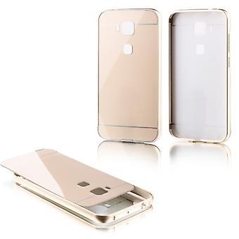 Piezas de aluminio paragolpes 2 con oro cubierta para Huawei G8 5.5 pulgadas