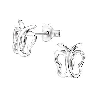 Schmetterlings - Ohrstecker 925 Sterling Silber Plain - W22292X