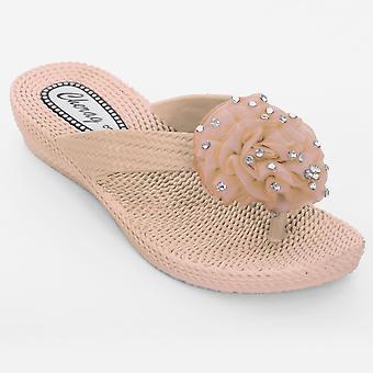 Ladies Diamante bloem corsage Flip Flop lage hak Women's Comfort Sandalen