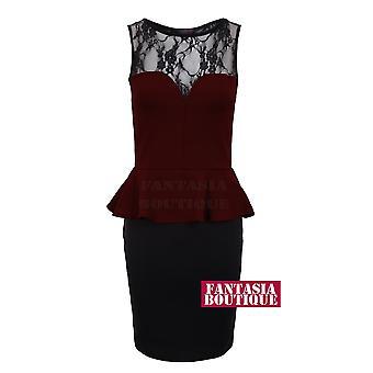 Ladies Black Lace Sweetheart Peplum Sexy Party Women's Short Dress