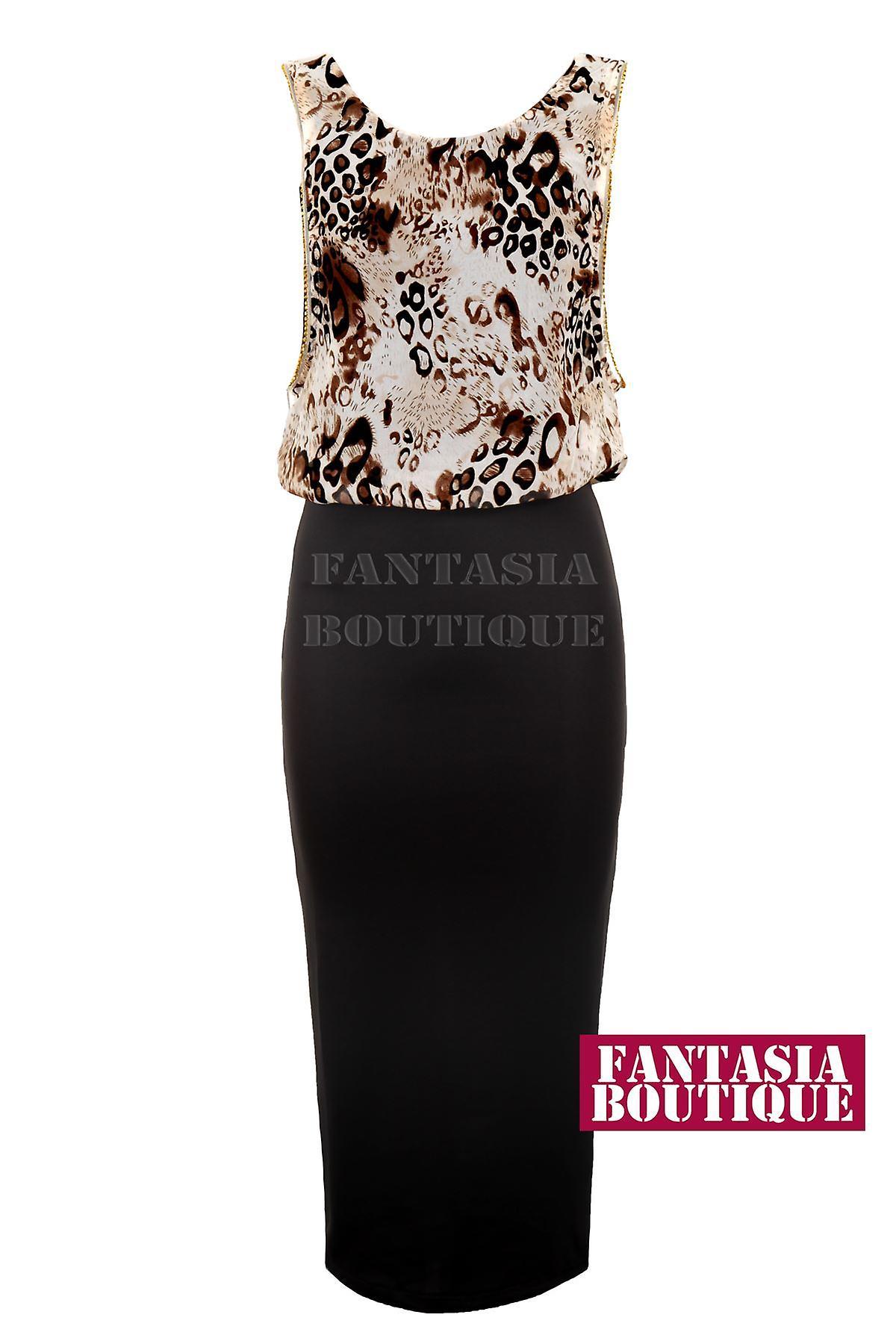 Hyvät eläinten Leopard Sifonki kulta hopea reunus musta kynä naisten pukeutuminen