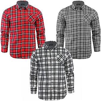 Brave Soul Mens Tycho Cotton Check Checked Button Lumberjack Shirt Top