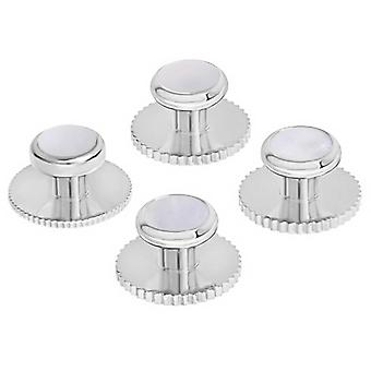 David Van Hagen Set of Five Mother of Pearl Insert Dress Studs - Silver/White