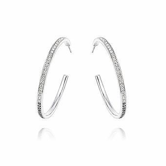 Små kreolske øreringe prydet med Swarovski Black Diamond og hvid krystal