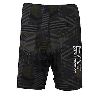 Ea7 Green & Grey Graphic Logo Cotton Shorts
