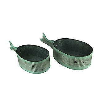 Corrugated Tin Whale Planter Set of 2
