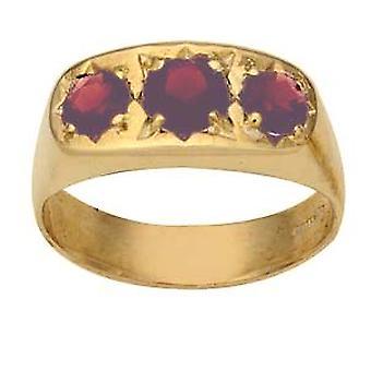 9ct Gold set mit 3 Granat Kleid Ring Größe R