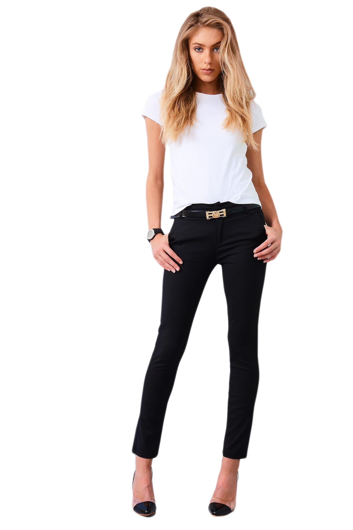Lovemystyle Smart Black Pencil Trousers With Belt