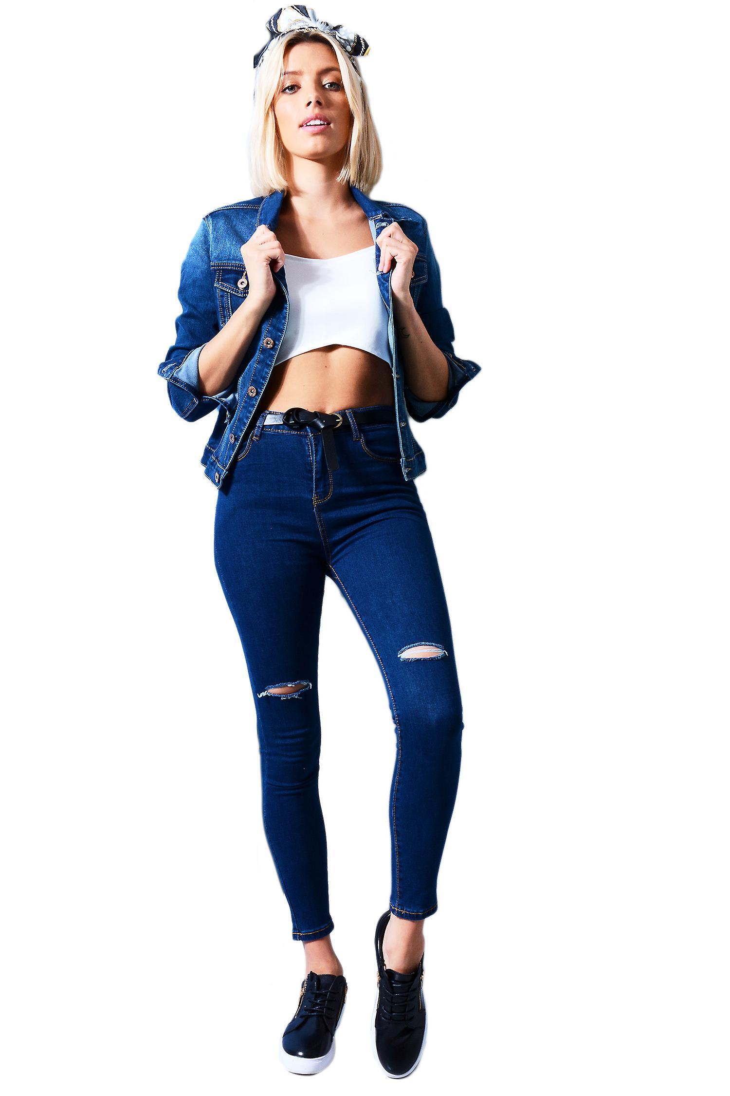 Lovemystyle Fitted Denim Jacket In Indigo Blue
