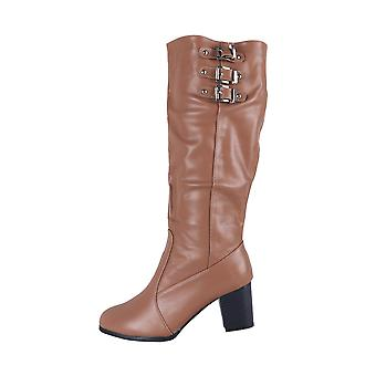 LMS Light Brown Faux Leather Block Heel Knee High Boot With Buckles