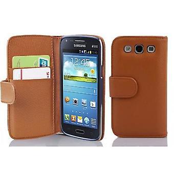 Cadorabo tilfelle for Samsung Galaxy CORE i COGNAC BRAUN – Mobiltelefon tilfelle i strukturert faux skinn med stativ funksjon og kort skuff - case cover beskyttende sak bok folding stil