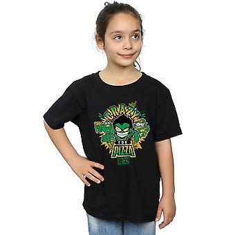DC Comics Mädchen Teen Titans verrückt für Pizza T-Shirt