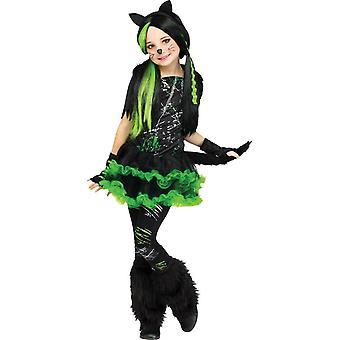 Groene kat kind kostuum