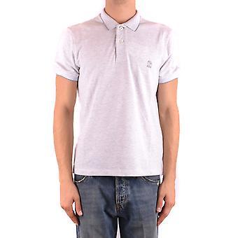 Brunello Cucinelli Ezbc002077 Men's Grey Cotton Polo Shirt