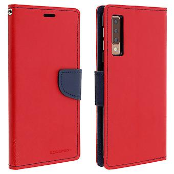 Case for Galaxy A7 2018 Folio Case Cards-Holder Support Function Mercury - Red