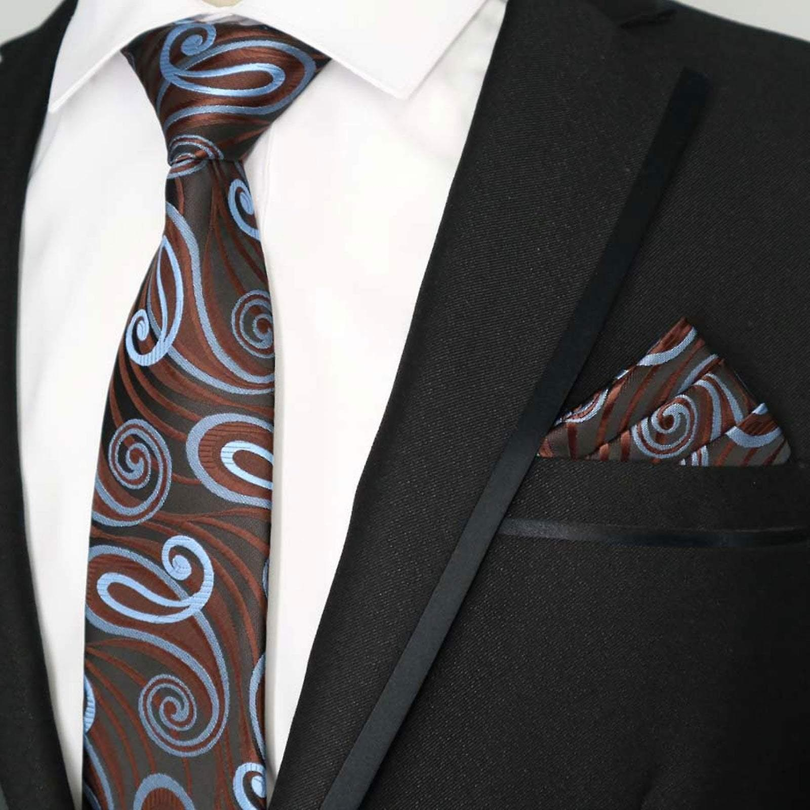 Brown & blue turquoise swirl dinner tie & pocket square